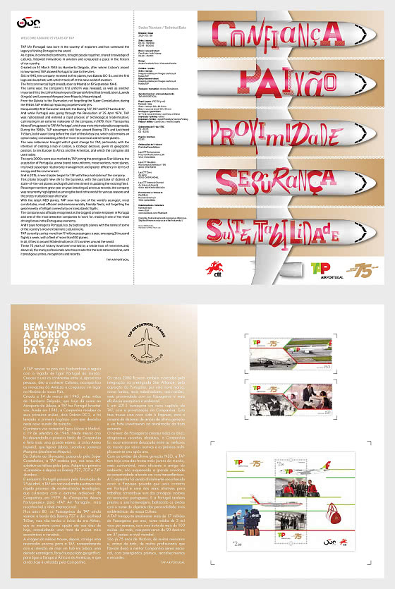 75 Years Of Tap Air Portugal - Brochure with Set and M/S  comes as CTO - Special Folder