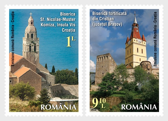 Joint Issue Romania & Croatia - Spirituality- Fortified churches - Set