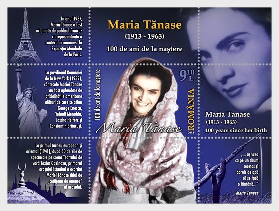 MARIA TANASE – 100 años desde su nacimiento - Souvenir Sheet