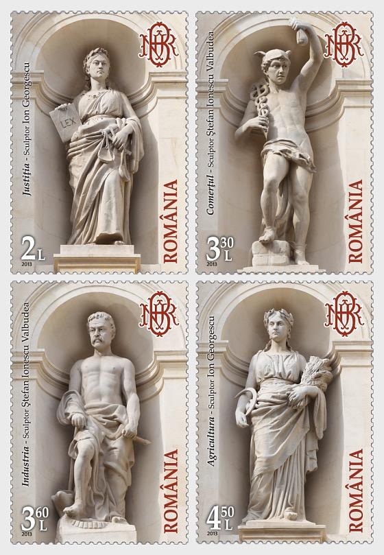 Arquitectura – El palacio del Banco Nacional de Rumanía (II) sello de emisión conjunta de Rumanía- Polonia:  - Series