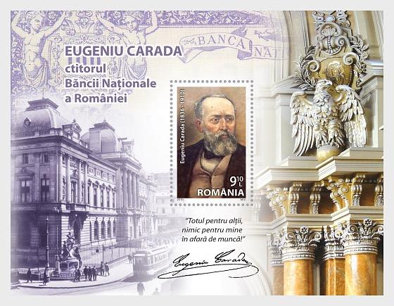 Eugeniu Carada (1836-1910) – The Founder of the National Bank of Romania - Souvenir Sheet