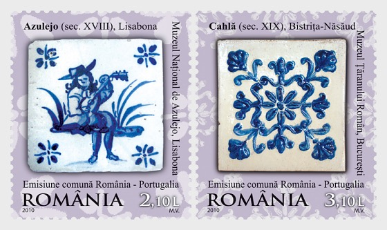 Joint stamp issue Romania-Portugal: Ceramics - Tiles (Cahle and Azulejos) - Set