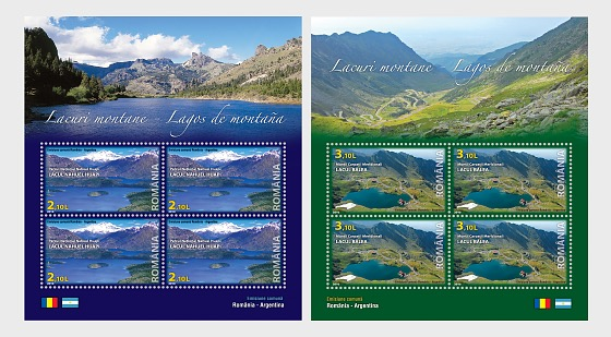 Joint stamp issue Romania-Argentina: Mountain lakes - Miniature Sheet