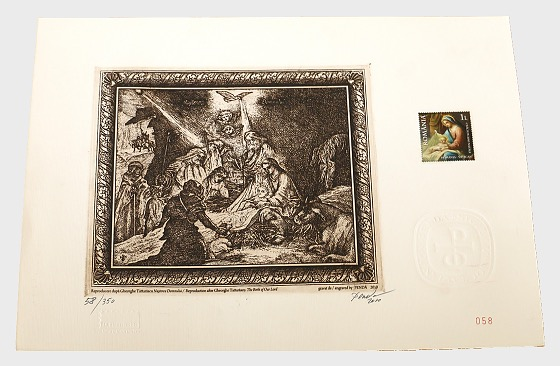 Joint stamp issue Romania-Vatican: CHRISTMAS 2010 (Engraving w/Stamp) - Collectibles