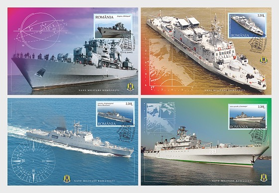 The Romanian Stamp Day – Romanian Military Vessels - Maxi Cards