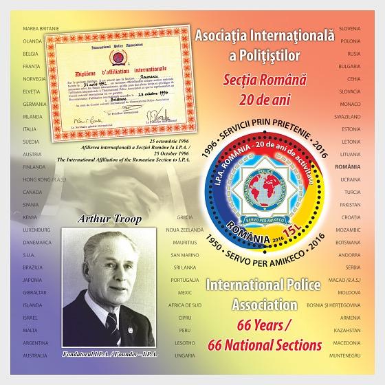 Servizio attraverso l'amicizia. 20 anni di I.P.A. Sezione rumeno - Souvenir Sheet