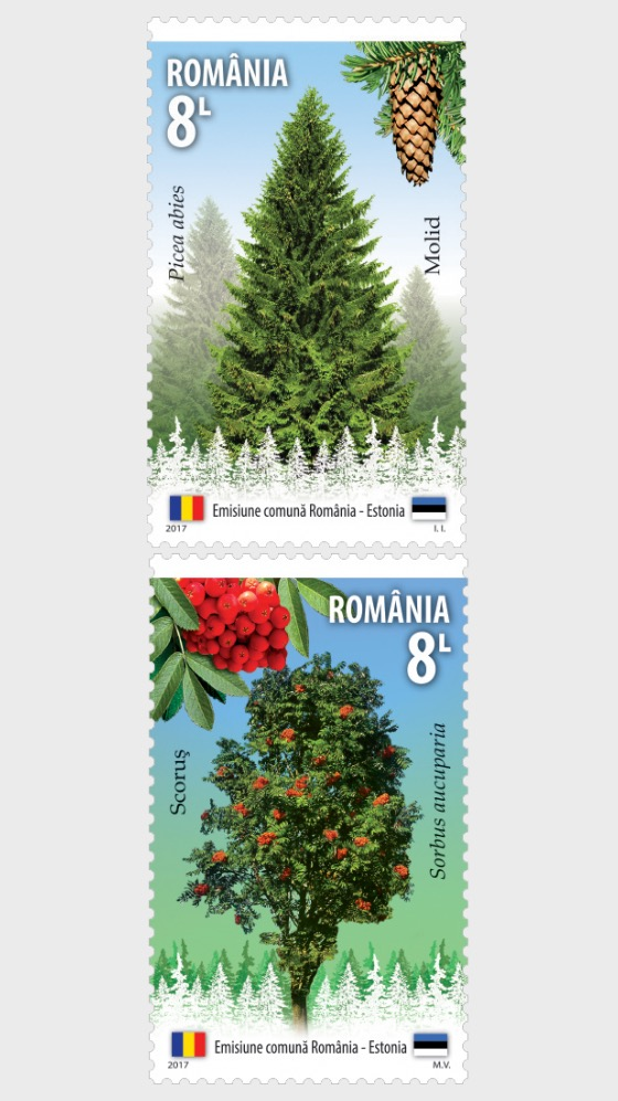 Joint Stamp Issue Romania – Estonia, Forest Species - Set