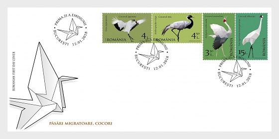 Aves Migratorias - Grullas - Sobre de Primer Dia