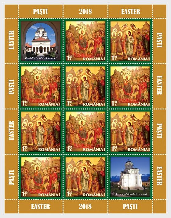 Holy Easter 2018 - (Sheetlet x10 Stamps + 1 Label - 5 Set) - Sheetlets