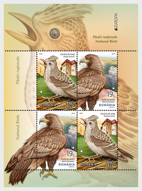 Europa 2019 - National Birds - Type I - Miniature Sheet