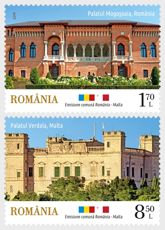 Joint Issue Romania-Malta, Architecture Palaces - Set