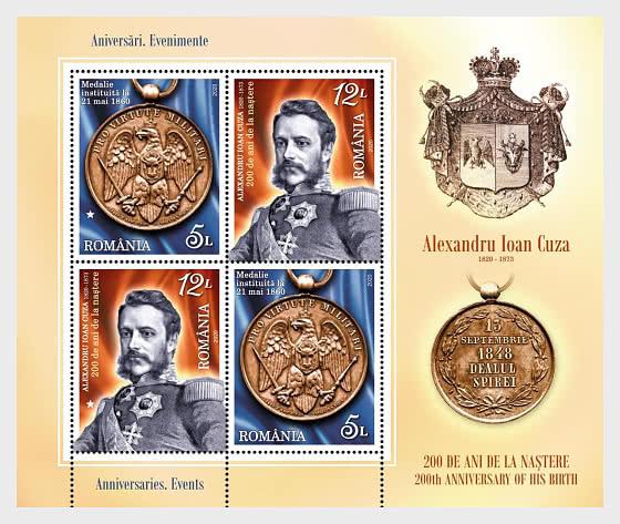 Aniversarios, Eventos - Alexandru Ioan Cuza 200 Años de su Nacimiento - Hojas Bloque