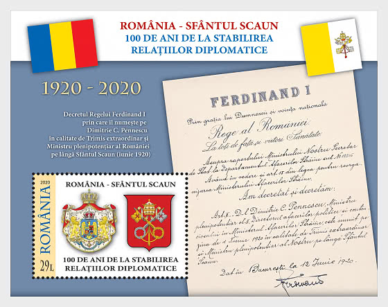 Romania - Holy See, 100 Years Since The Establishment of Diplomatic Relations - Miniature Sheet