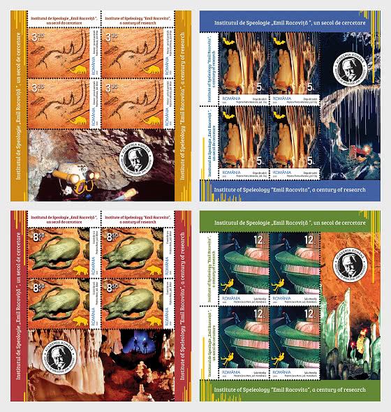 """Institute Of Speleology """"Emil Racovita"""" A Century Of Research - Sheet of 4 Stamps with Illustrated Border - Sheetlets"""