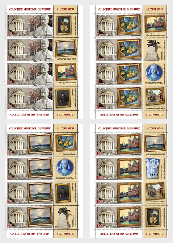 Collections Of Lost Museums - Sheets  x 4 Stamps + 4 Labels - Sheetlets