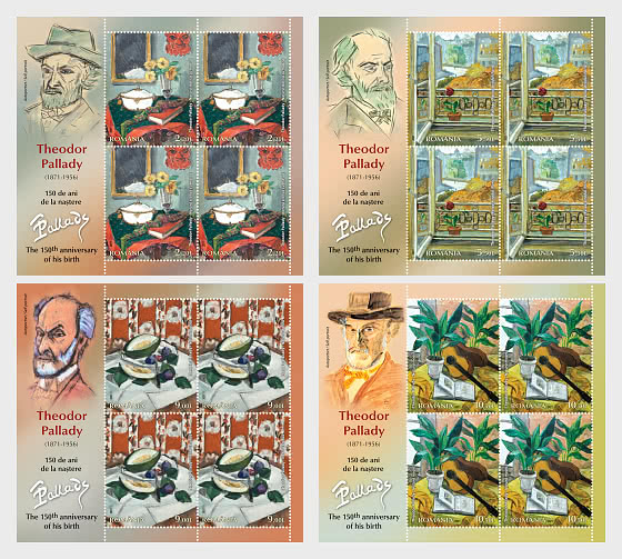 Theodor Pallady - The 150th Anniversary Of His Birth - Sheets  x 4 Stamps with Ilustrated  - Sheetlets