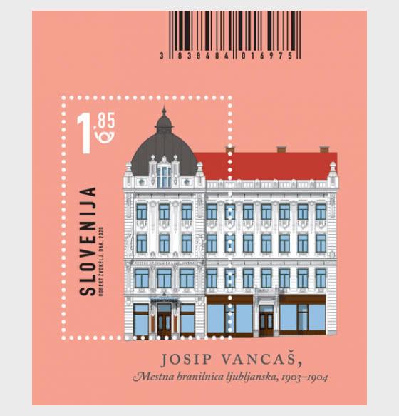 Architecture in Slovenia - Municipal Savings Bank, Ljubljana - Miniature Sheet