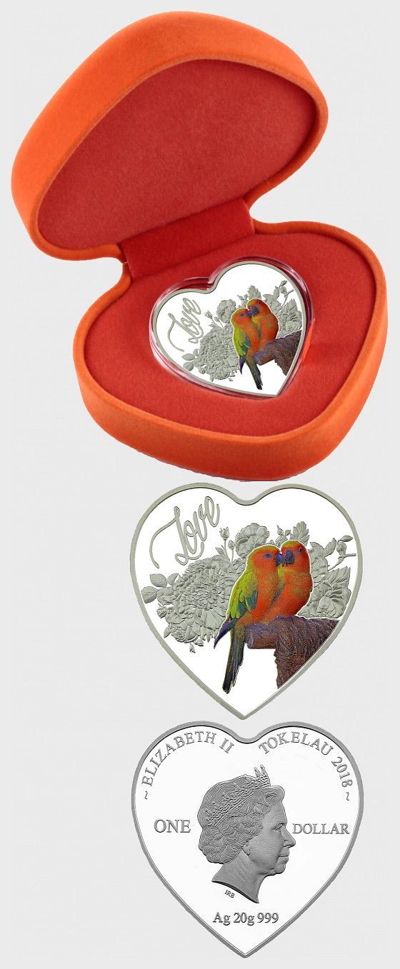 Love Birds (Heart) - Silver Coin