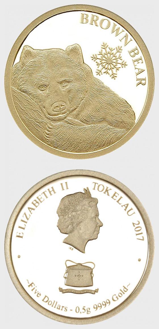 Braunbär 0,5g Gold Schneeflocke Bär - Goldmünze