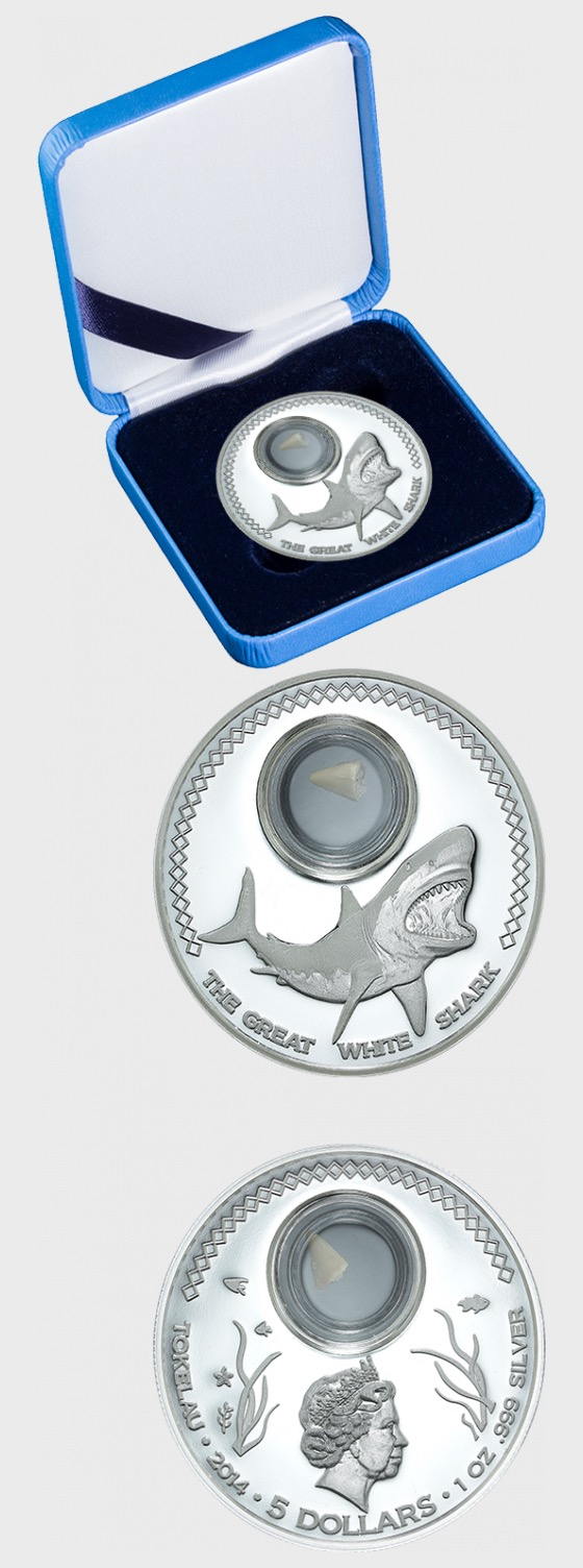 Shark Tooth Coins – Great White Shark - Silver Coin