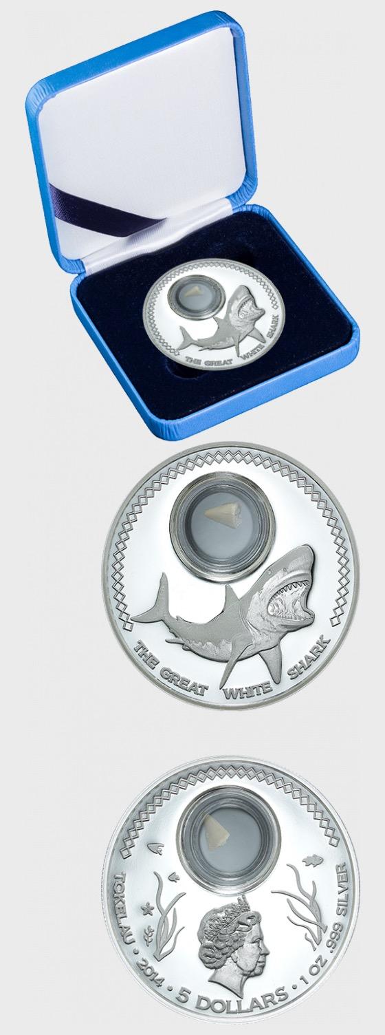 Diente de Tiburón en Monedas - Gran Tiburón Blanco - Moneda de plata