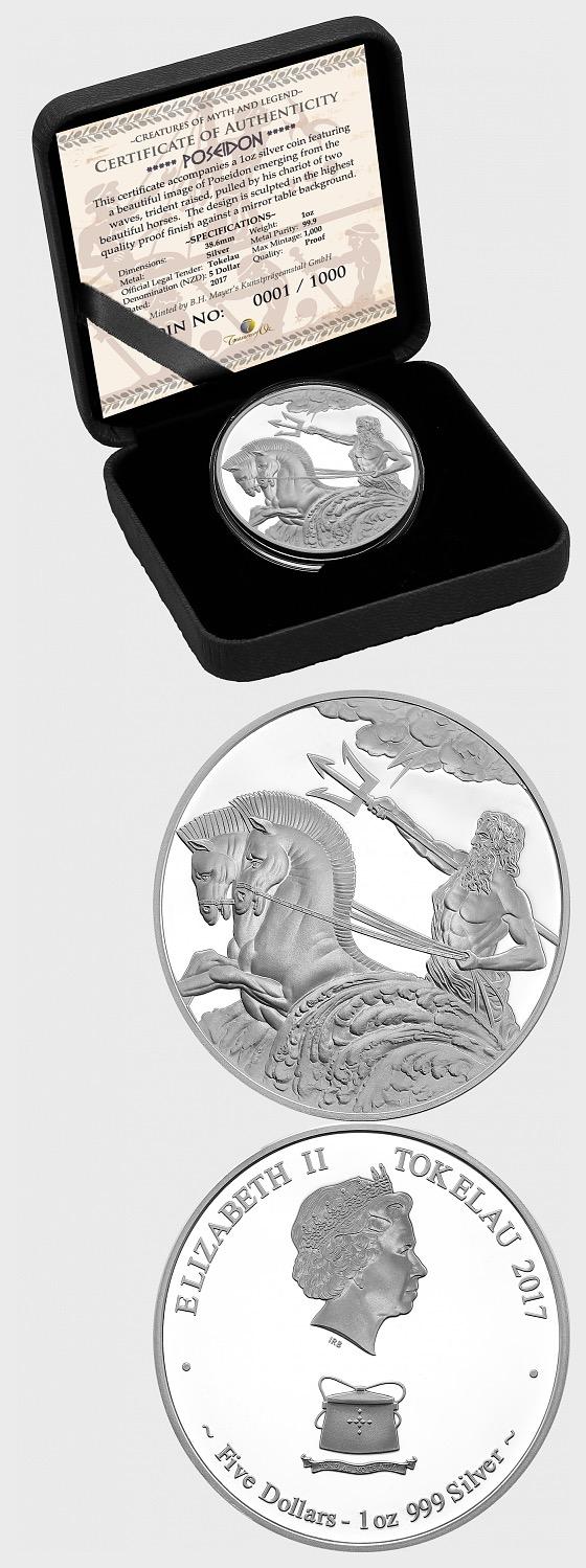 波塞冬1盎司银托克劳硬币 - 银币