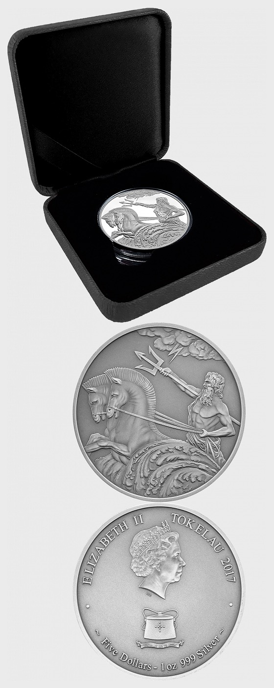 Poseidon High Relief Antique Silver Tokelau 1oz Coin - Silver Coin