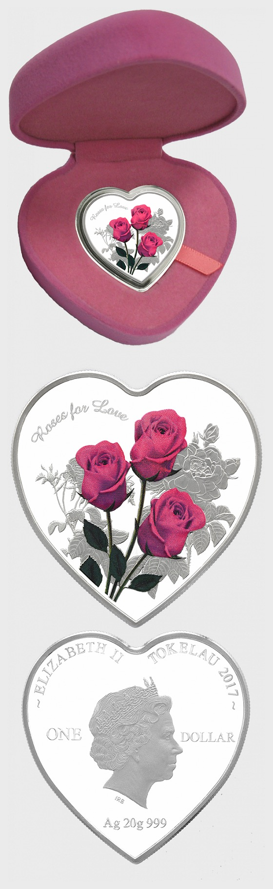 Roses For Love Heart-Shaped Silver Tokelau Coin - Silver Coin