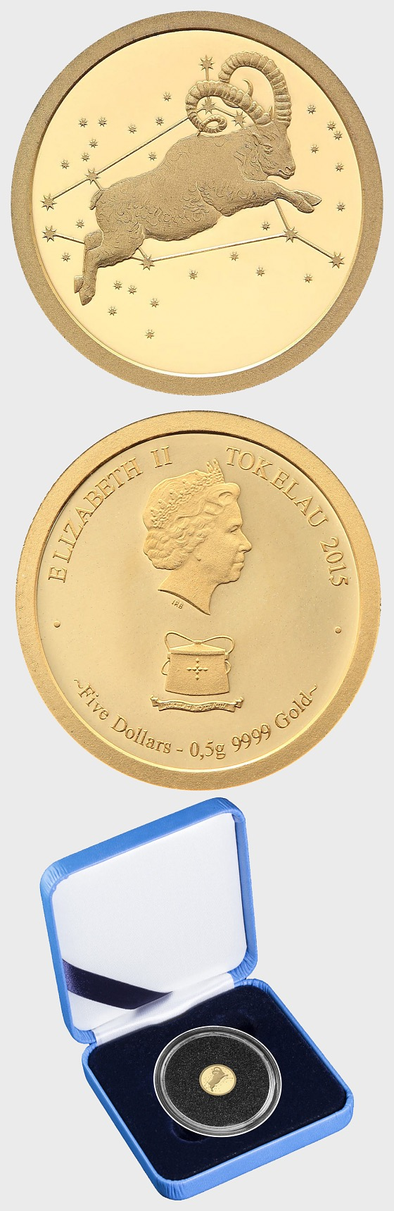 Aries 0.5g Gold Proof Tokelau Coin - Gold Coin