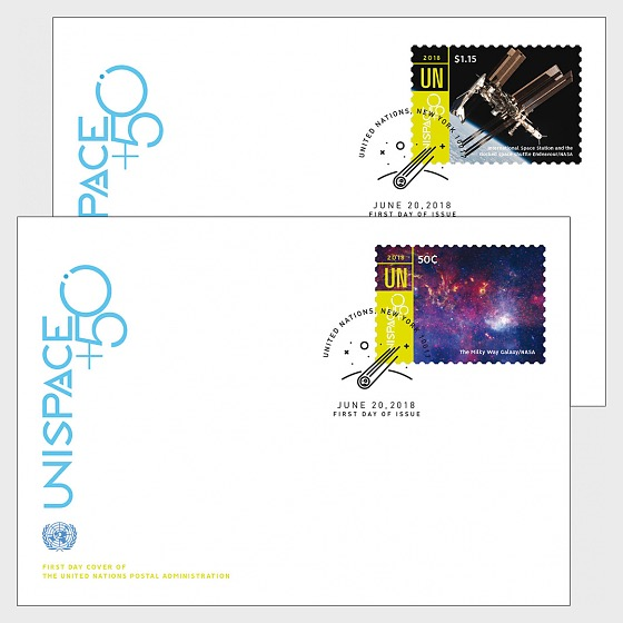 (New York) - UNISPACE+50 - (FDC Single Stamp) - First Day Cover single stamp