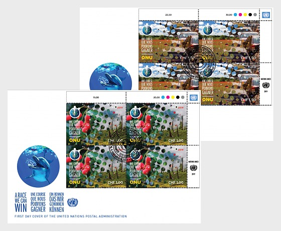 (Geneva) - Climate Change 2019 - FDC Block of 4 - First Day Cover block of 4