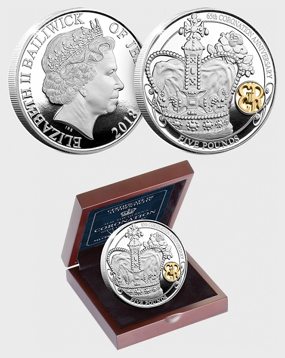JERSEY - Der 65. Krönungs-Jahrestag der Königin Silberne Fünf-Pfund-Beweis-Münze - Silbermünze