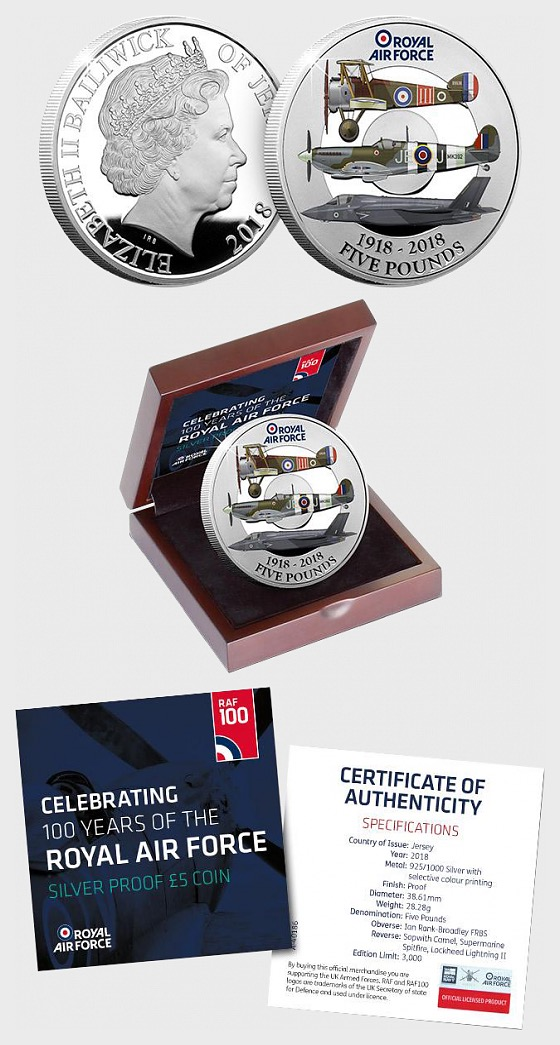 JERSEY - The RAF Centenary Silver Proof Five Pound Coin - Silver Coin