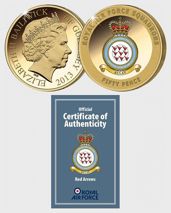 GUERNSEY - The Red Arrows Gold-Plated Coin - Single Coin