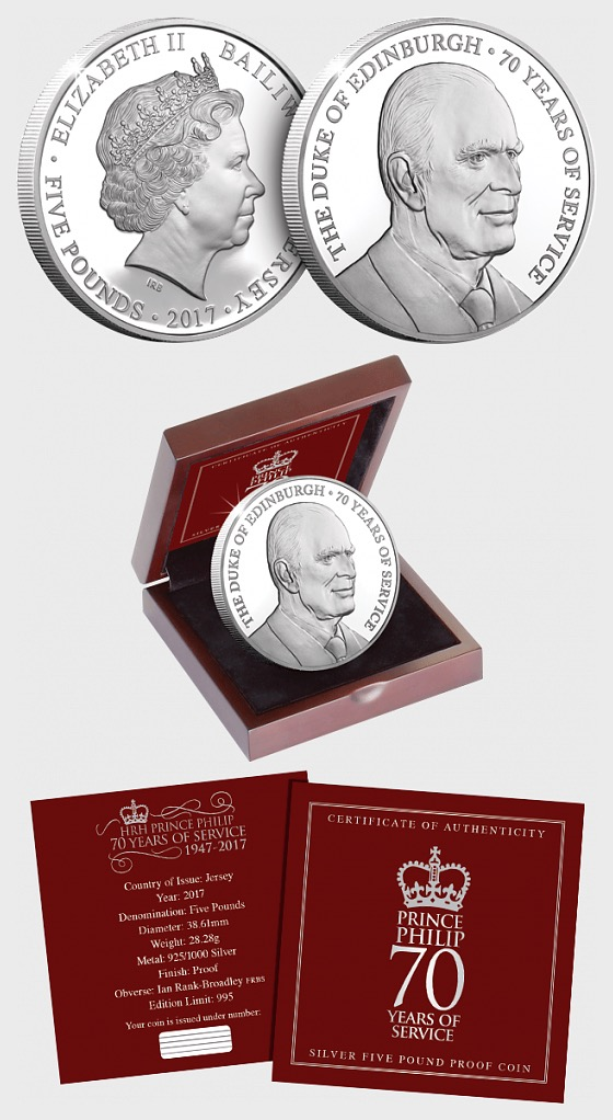 JERSEY - The Prince Philip 70 Years of Service Silver Five Pound Proof Coin - Silver Coin