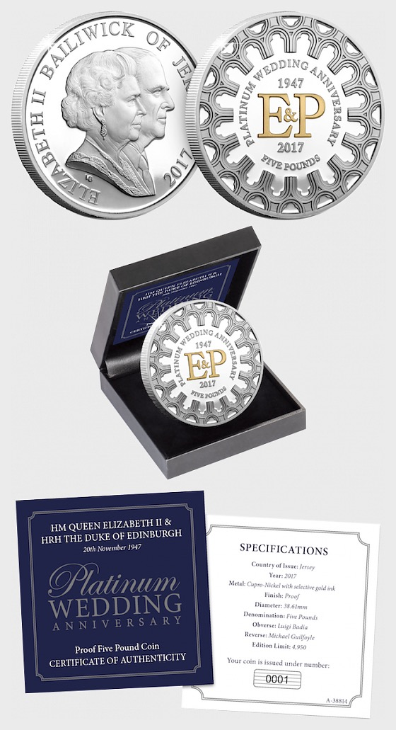 JERSEY - The Platinum Wedding Five Pound Proof Coin - Commemorative
