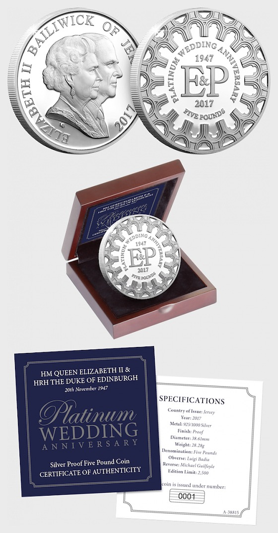 JERSEY - The Platinum Wedding Anniversary Silver £5 Coin - Silver Coin