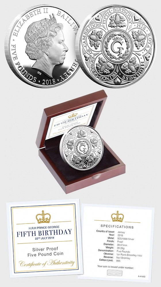 JERSEY - HRH Prince George's Fifth Birthday Silver Proof Five Pound Coin - Silver Coin