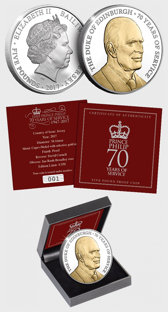 JERSEY - The Prince Philip 70 Years of Service £5 Coin - Commemorative