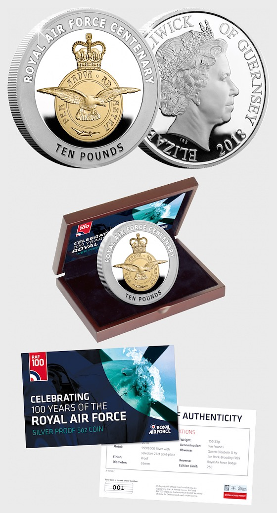 GUERNSEY - The RAF Centenary Badge Silver Proof 5oz Coin - Single Coin