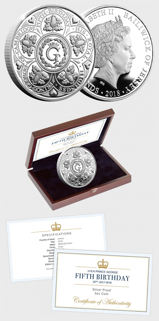 JERSEY - HRH Prince George's Fifth Birthday Silver Proof Five Pound Coin - Single Coin