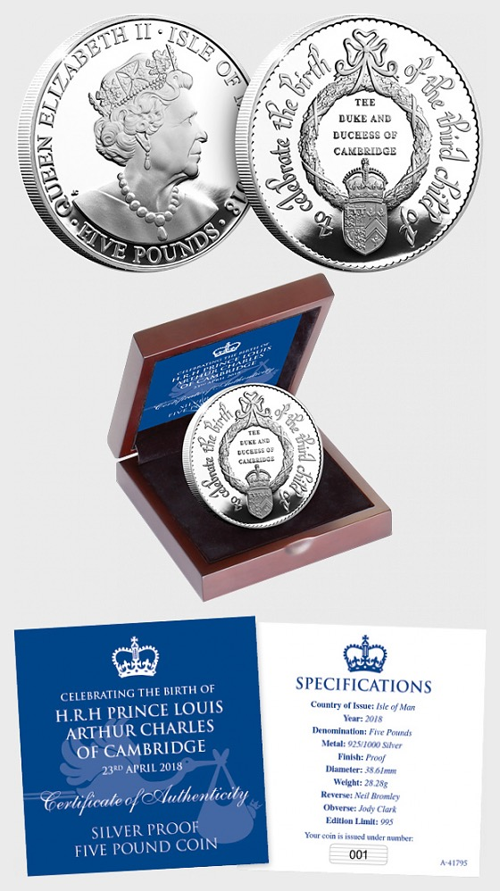 ISLE OF MAN - HRH Prince Louis of Cambridge, Silver Proof Five Pound Coin - Silver Coin