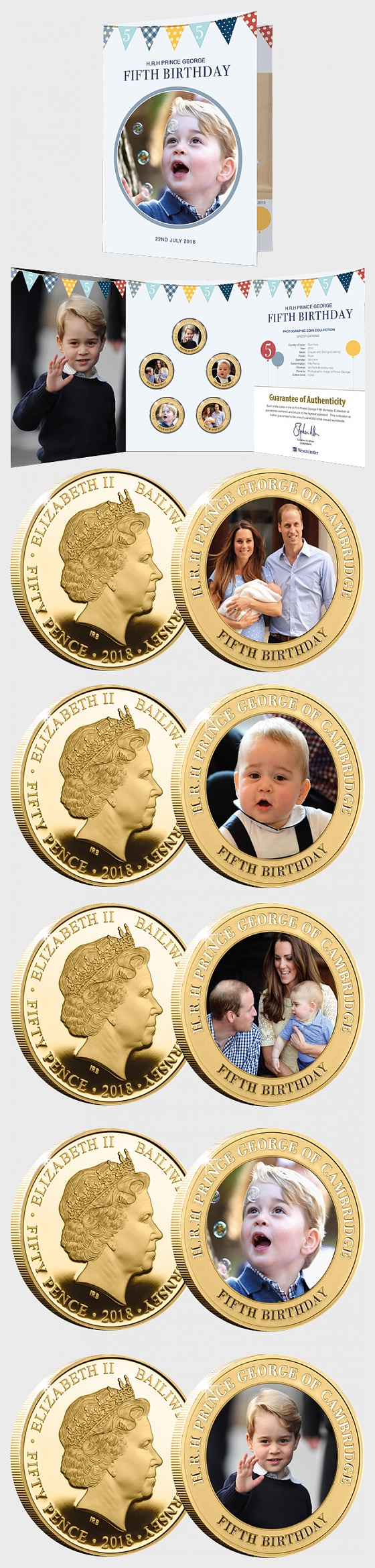GUERNSEY - HRH Prince George's 5th Birthday Gold-plated Five Coin Set - Commemorative