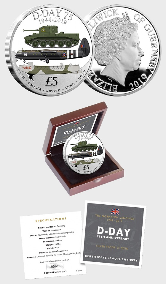 GUERNSEY - The D-Day 75th Anniversary Silver Proof Five Pound Coin - Silver Coin