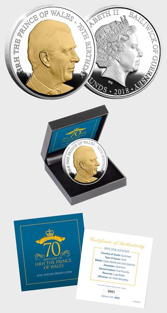 GUERNSEY - HRH Prince Charles 70. Geburtstag Münze - Gedenk