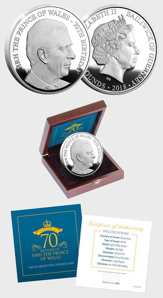 GUERNSEY - HRH Der Prinz von Wales 70. Geburtstag Silber-Proof-Pfund-Münze - Silbermünze
