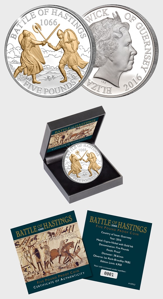 GUERNSEY - The 2016 Battle of Hastings £5 Proof Coin - Commemorative