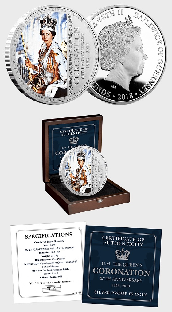 GUERNSEY - The Queen's 65th Coronation Anniversary Silver Proof Five Pound Coin - Silver Coin
