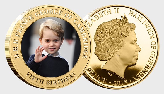 GUERNSEY - HRH Prince George 5th Birthday Goldplated Coin - Commemorative
