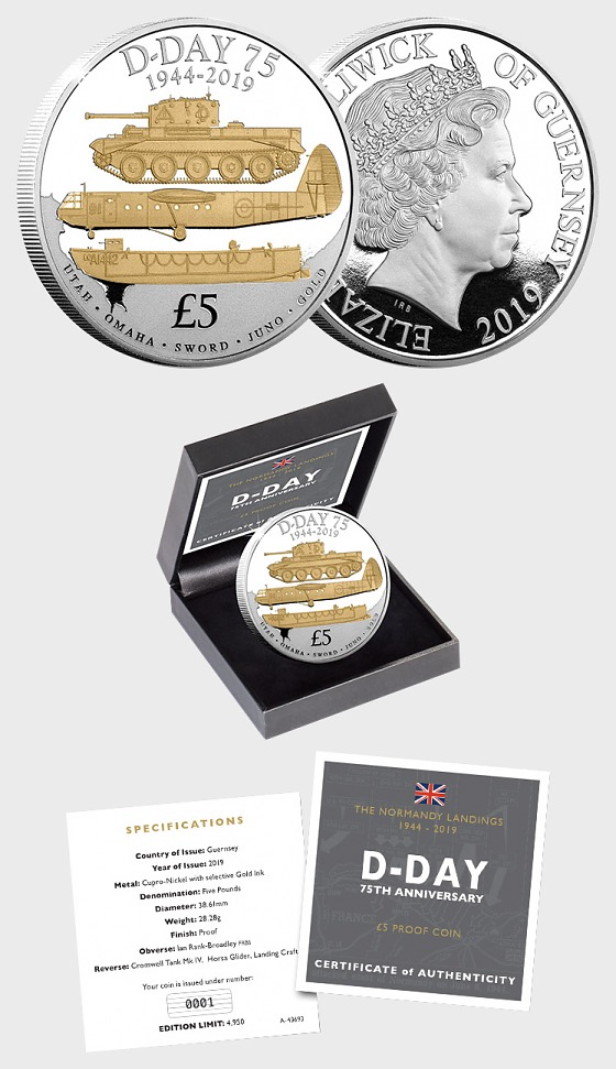 GUERNSEY - The D-Day 75th Anniversary Proof Five Pound - Commemorative